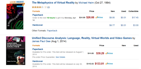 "Amazon search: ""virtual reality"" in Books"