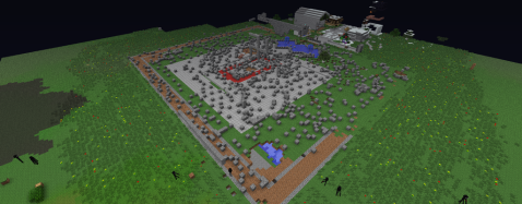 """Minecraft Wiki: Griefing, """"A massively destroyed castle."""""""