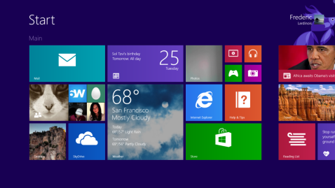 The Windows 8.1 start menu. Wrong for the PC desktop, completely wrong for Virtual Reality. (Image Source: TechCrunch)