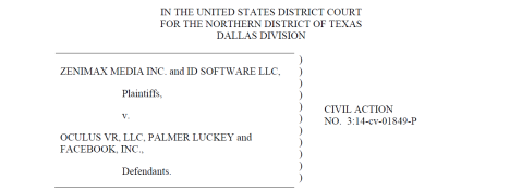 Header from a document in the Zenimax vs Oculus VR Court Case