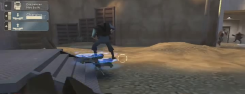 Environmental trap: using the Teleporter in Team Fortress 2 to trap for friendly players.