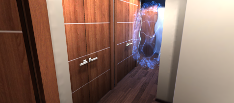 Architecture room in VRChat. A hallway is blocked by an unavoidable portal.